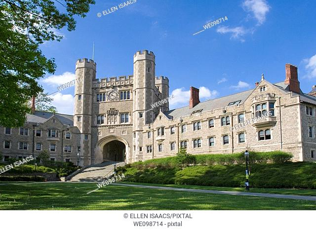 Buyers Residentail Hall and Blair Hall with clock tower, dorms at Princeton University, good examples of Collegiate Gothic architecture  Princeton, New Jersey