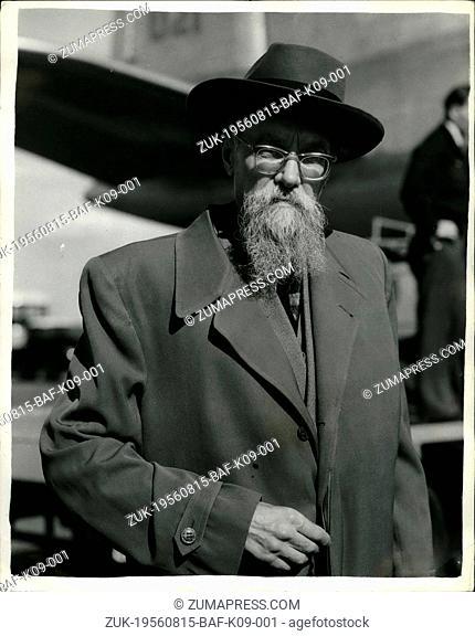 Aug. 15, 1956 - Bearded Russian delegate arrives for Suez talks. Keystone Photo shows: Mr Durdenevsky- a bearded Russian delegate-seen on arrival with members...