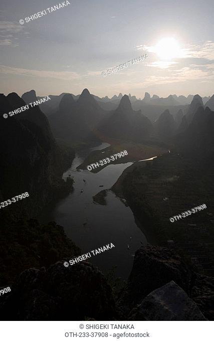 Bird's eye view of Xingping, Guilin, China