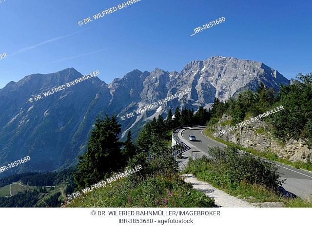 Rossfeldstraße, German Alpine Road, with Hohen Göll Mountain, Berchtesgadener Land district, Upper Bavaria, Bavaria, Germany