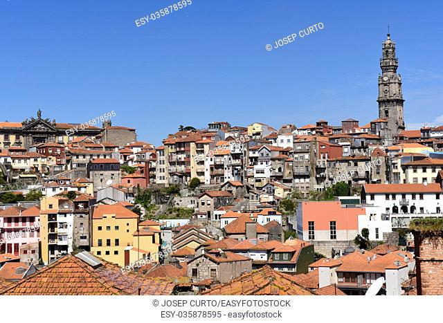 Church Clerigos with panoramic view of Porto, Portugal,