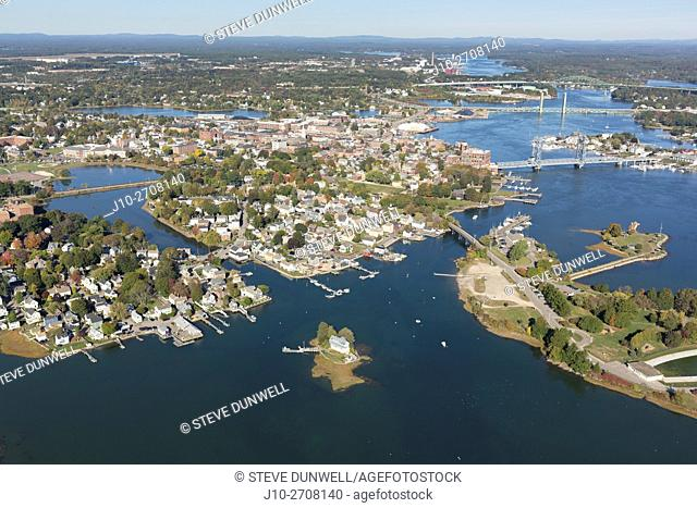Aerial view of city, harbor and bridges, Portsmouth, NH, USA