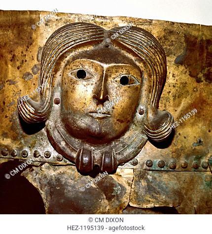 Celtic human head on Bronze cauldron, Rynkeby Bog, Denmark, 4th century BC