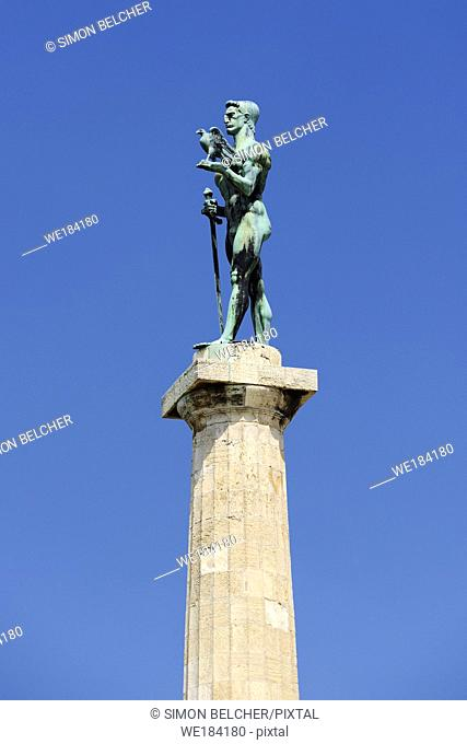 The Victor Monument, Pobednik, Belgrade, Serbia. . Built to commemorate Serbia's victory over Ottoman and Austro-Hungarian Empire during the Balkan Wars and the...