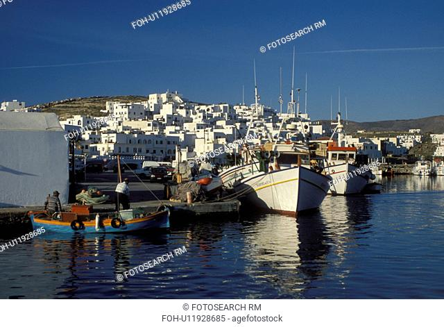 Paros, Naoussa, Greece, Greek Islands, Cyclades, Europe, Fishing boats docked in Naoussa Harbor on Paros Island on the Aegean Sea