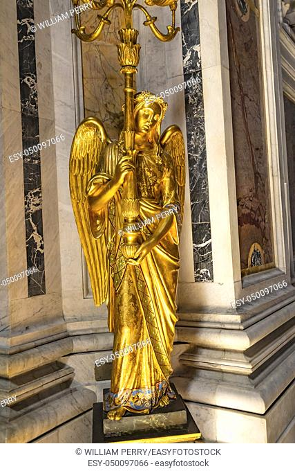 Golden Angel Statue Light Basilica Santa Maria Maggiore Rome Italy. One of 4 Papal basilicas, built 422-432, built in honor of Virgin Mary