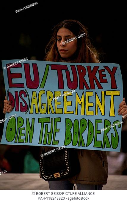"""Refugee protests against EU-Turkey Agreement (Refugee Deal). Sign """"""""EU Turkey (Non-) Agreement Opens the Borders"""""""". 13.03.2019 