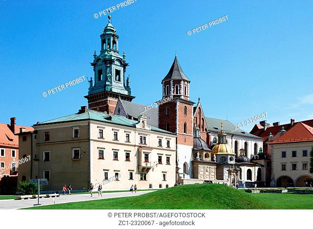 Cathedral and Chapel as part of Royal Castle at Wawel Hill of Krakow in Poland - Caution: For the editorial use only. Not for advertising or other commercial...