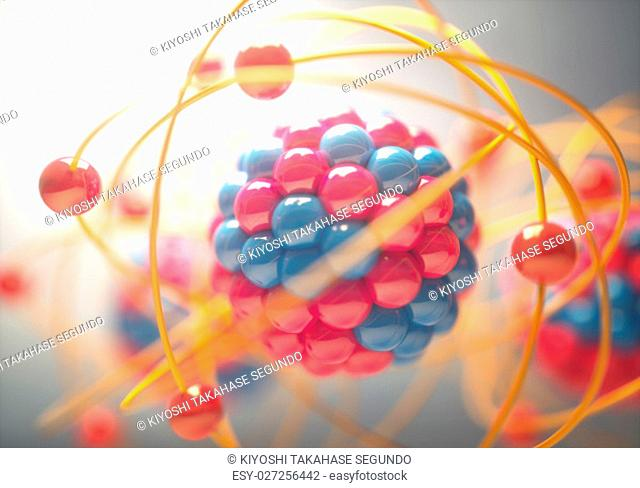 3D Illustration of an atom, that is the smallest constituent unit of ordinary matter that has the properties of a chemical element