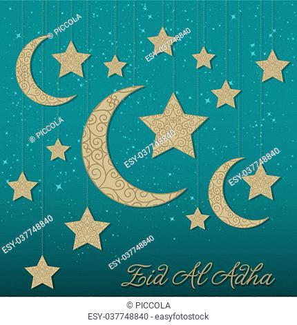 Hanging decoration Eid Al Adha card in vector format