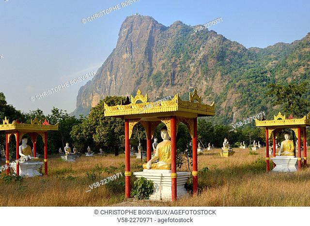 Myanmar, Kayin (Karen) State, Hpa-An, Lumbini park and mount Zwegabin (723 m)