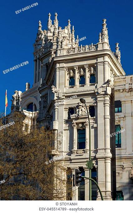 Palace of Cibeles at Cibeles square in City of Madrid, Spain