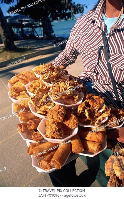 Thailand, Pattaya, Food Vendor's Display on Pattaya Beach