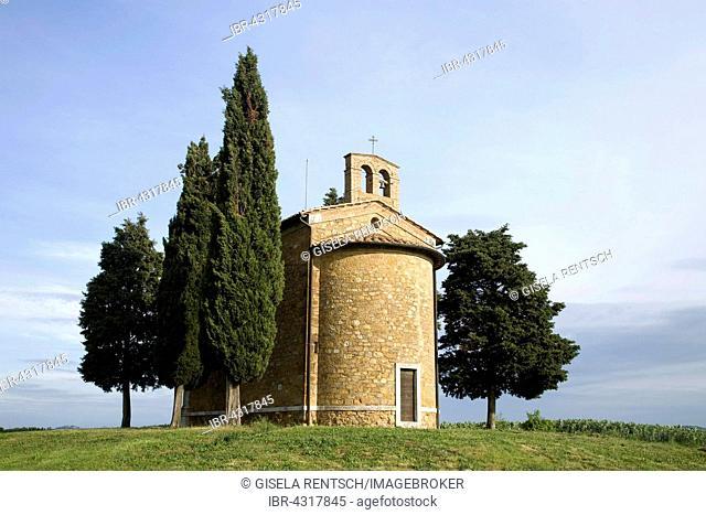 Chapel, Cappella di Vitaleta in Val d'Orcia, Tuscany, Italy