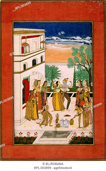 Radha and Krishna dance on a terrace in the Spring season surrounded by girls playing music and spraying red dye through syringes to celebrate the Holi festival