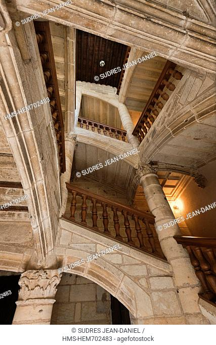 France, Dordogne, Perigueux, Renaissance Staircase in the Hotel St. Astier