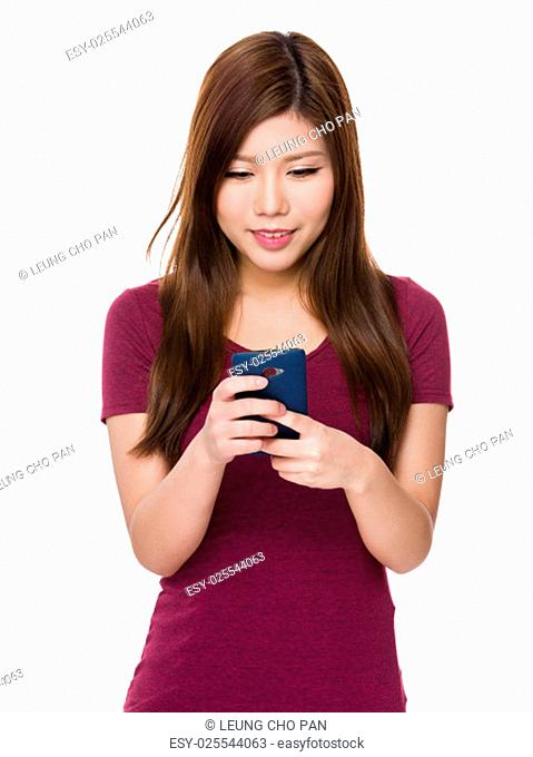 Asian woman look at mobile phone