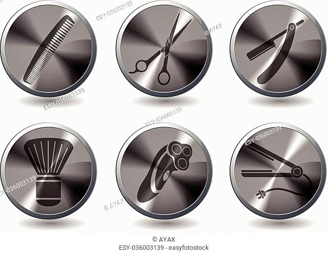 Barbershop icons set for web sites and user interface