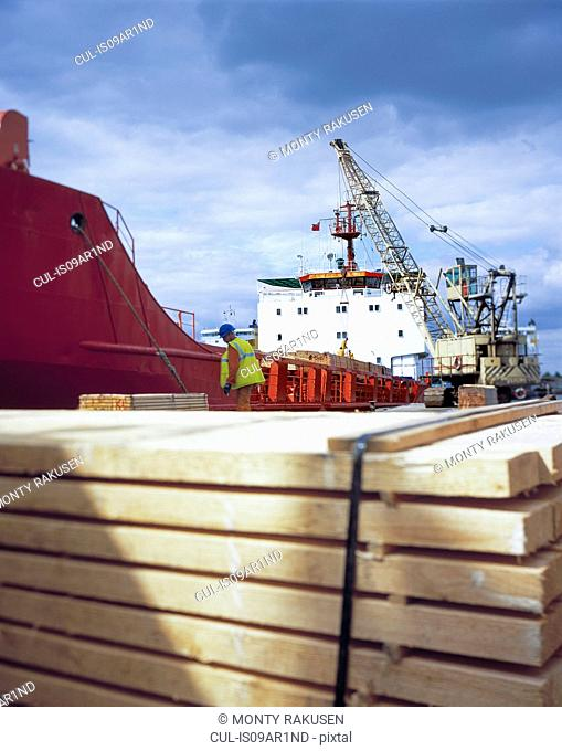 Worker unloading timber from cargo ship in port, Grimsby, England, United Kingdom