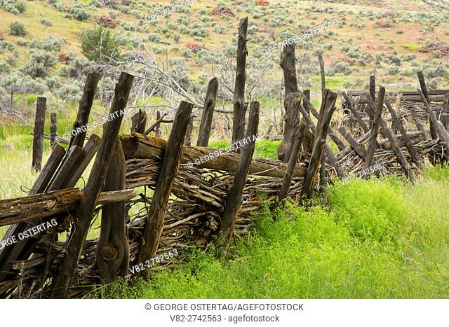 Ranch fence on Barnes Springs Trail, Malheur National Wildlife Refuge, Steens Mountain Backcountry Byway, Oregon