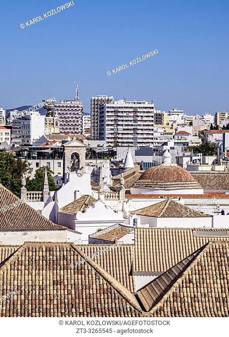 Cityscape, elevated view, Faro, Algarve, Portugal