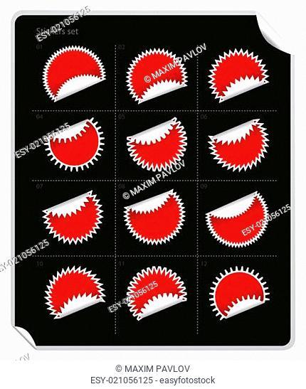 Illustration of stickers on black background