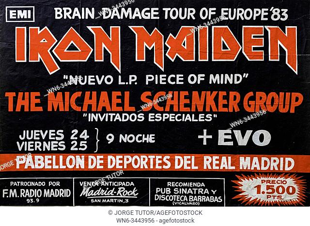 Iron Maiden, Piece of Mind promo album and tour 1983 Madrid, Musical concert poster