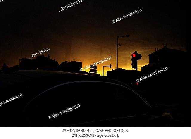 car and light, Bompas, Perpignan, France