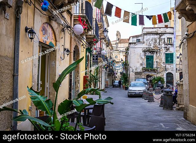 Ortygia island, historical part of Syracuse city, southeast corner of the island of Sicily, Italy