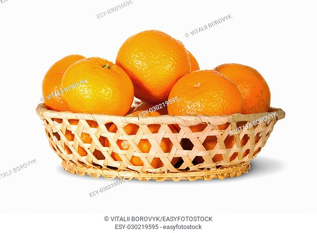 Full Basket Of Ripe Tangerine Isolated On White Background
