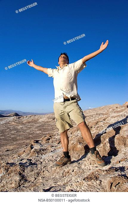 young man in Atacama Desert, Chile, South America