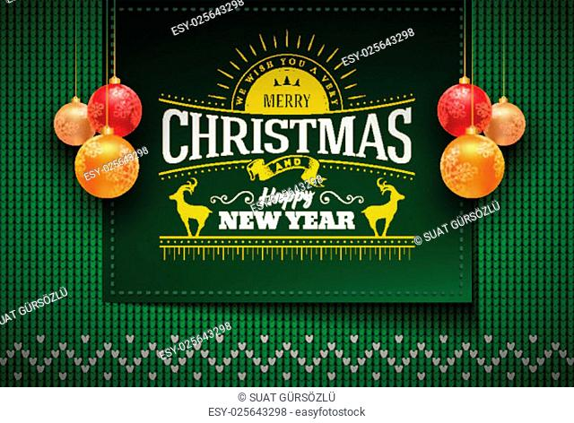 Merry Christmas and Happy New Year message on vector knitted pattern