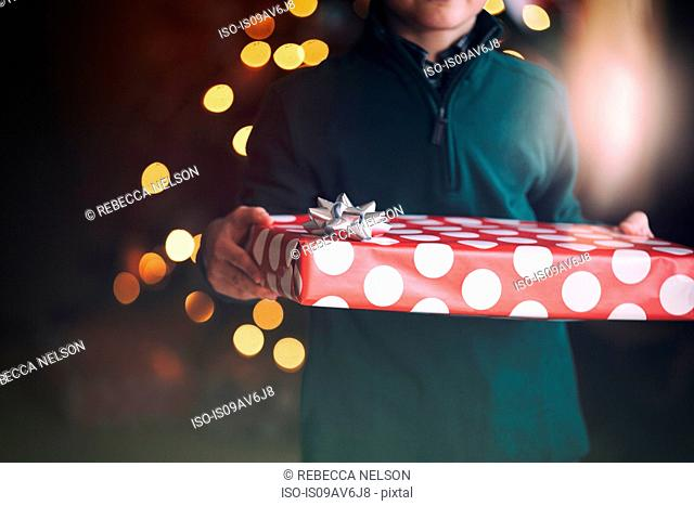 Cropped view of boy in front of christmas tree holding gift