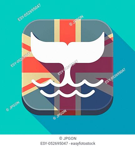 Illustration of a long shadow square button with the United Kingdom flag and a whale tail