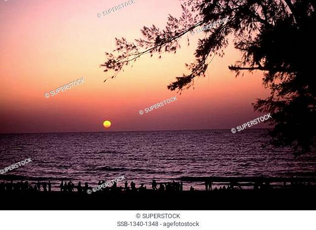Sunset over the sea, Colva Beach, Goa, India
