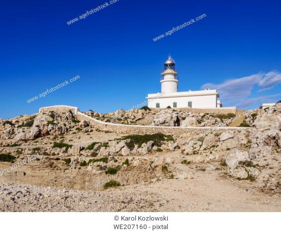 Lighthouse at Cap de Cavalleria, Menorca or Minorca, Balearic Islands, Spain