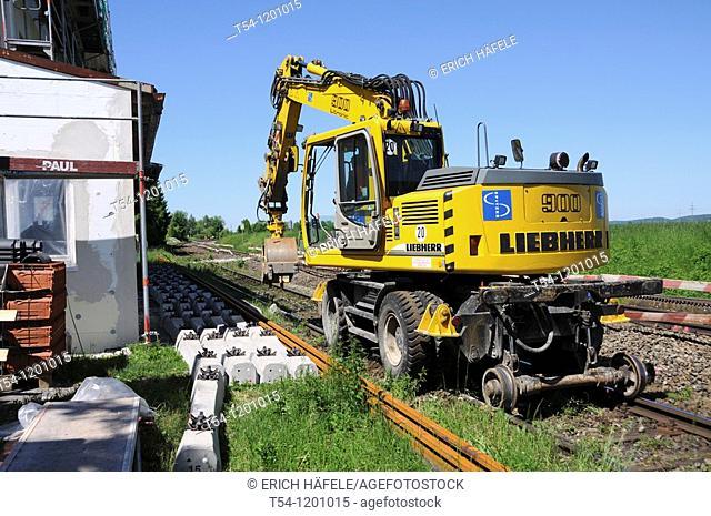 Rail excavator at work