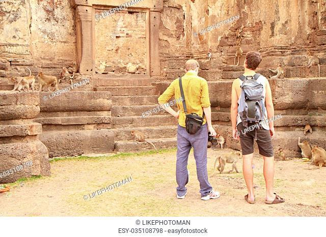 Tourist go around the Pra Prang Sam Yot in Lopburi Thailand