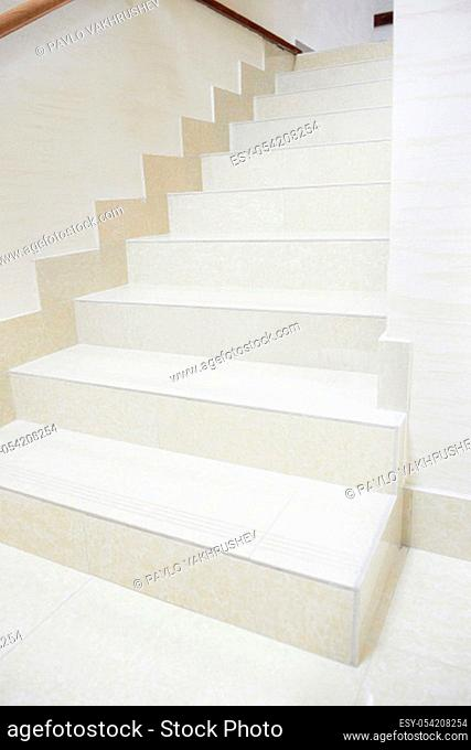 White marble staircase in the modern house