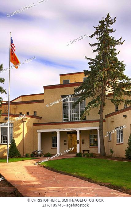 The Santa Fe Supreme Court building in Santa Fe, New Mexico USA