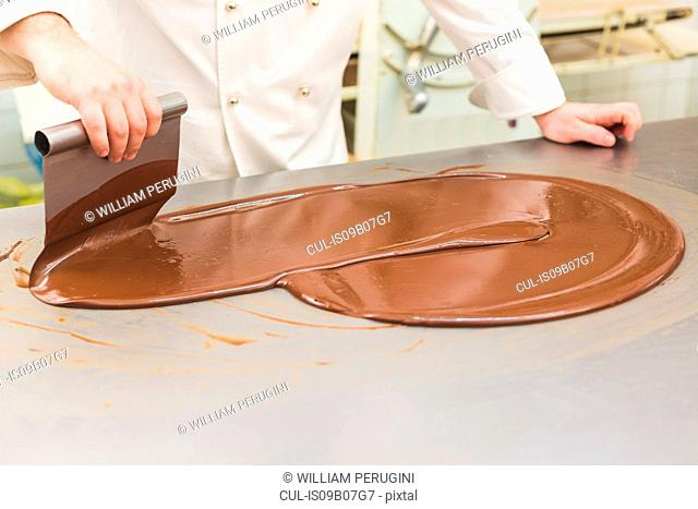 Chef tempering chocolate