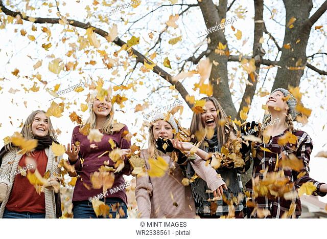 A group of five teenage girls outdoors in woolly hats and scarves throwing autumn leaves in the air