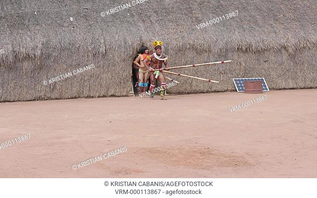 Traditional Dance, Kalapalo Indios, Mato Grosso, Brazil, South America
