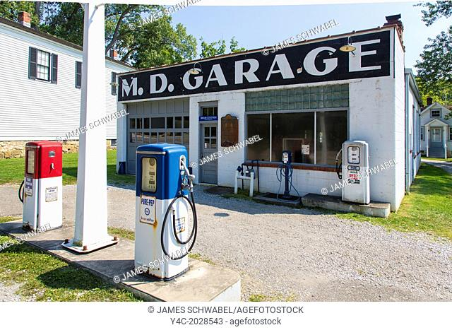 M D Garage in Boston Mills in Cuyahoga Valley National Park in Ohio in the United States
