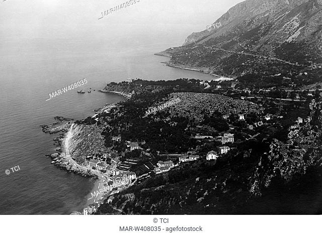 Italy, Basilicata, Maratea, view of the beach and the little river port, 1930-40