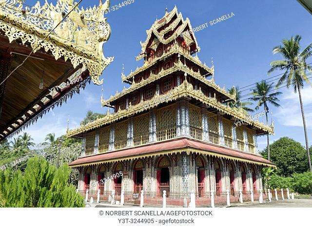 Myanmar (ex Birmanie). Etat Mon. Kadoe. Monastère de U Na Auk / Myanmar (formerly Burma). Mon State. Kadoe. The U Na Auk Pagoda complex