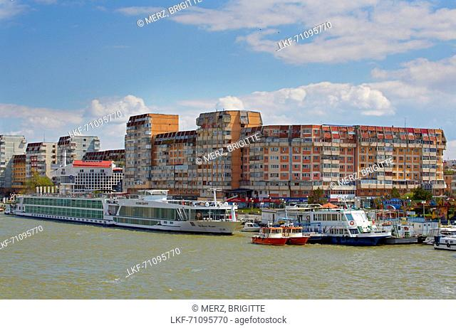 Port town of Tulcea in the Danube Delta at the Tulcea branch of the Danube , Romania , Europe