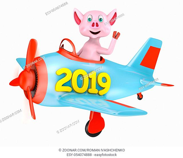 Piglet in an airplane with an inscription 2019 on a white background