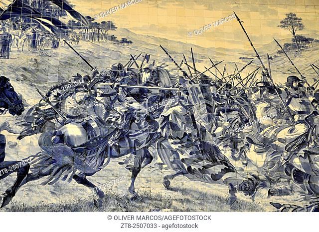 Image of the Battle of Valdevez (12th Century). Station Sao Bento Porto (Portuguese: Estação Ferroviária Porto-São Bento) is a railway station located in the...