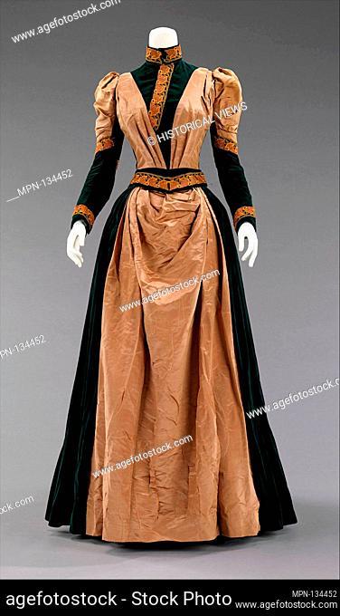 Afternoon dress. Date: 1885; Culture: American; Medium: silk; Credit Line: Brooklyn Museum Costume Collection at the museum, Gift of the Brooklyn Museum